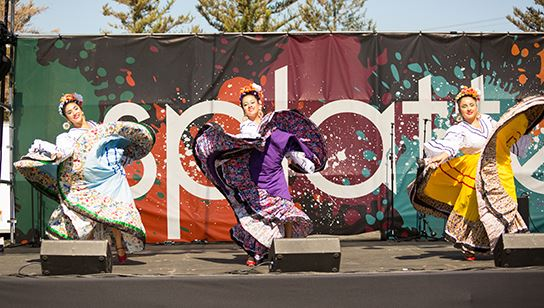 A group of Mexican folklore dancers at Splatter.