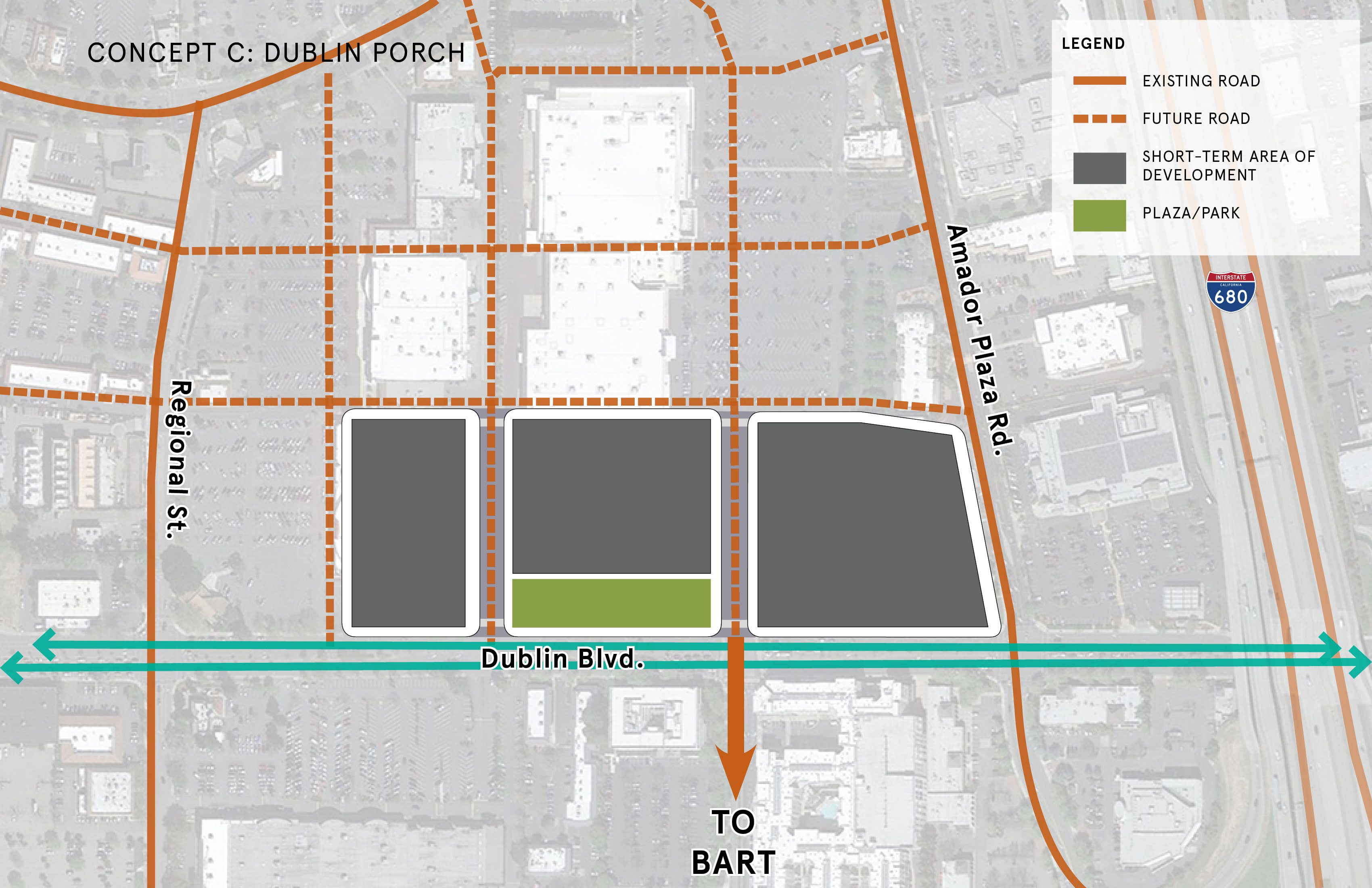 Concept C: Dublin Porch - This concept would place the Town Square adjacent to Dublin Blvd. running parallel with the street. The Town Square would be highly visible and linear, but may require change