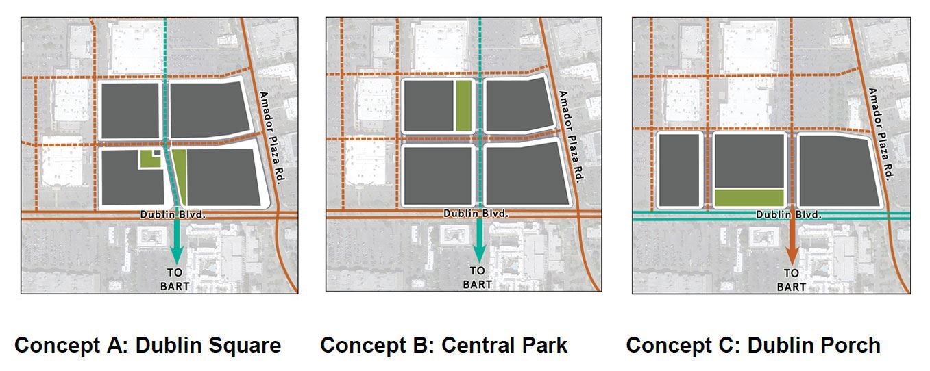 Downtown Town Square Concepts A, B and C