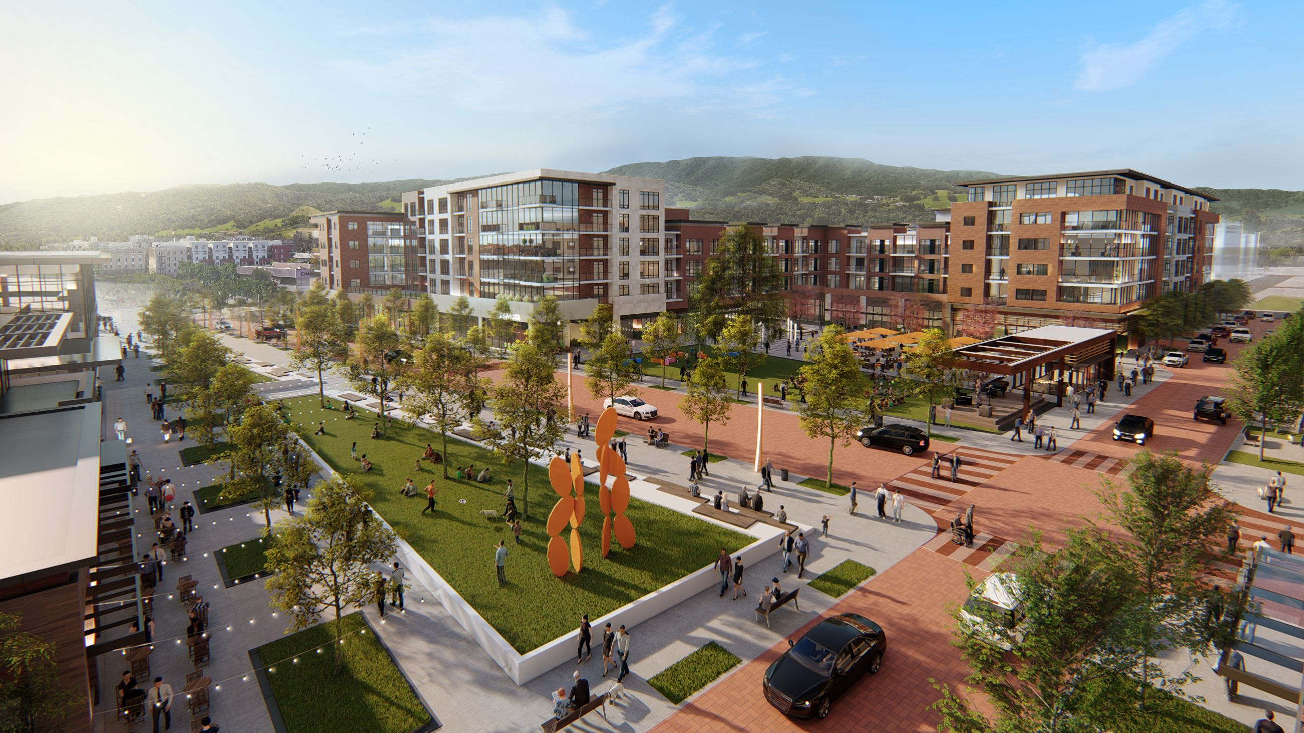 Downtown Dublin Preferred Vision -  Rendering of Aerial View of Public Plaza and extension of Golden Gate Drive