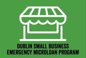 Microloan Program graphic showing storefront with text Dublin Small Business Emergency Microloan Pro